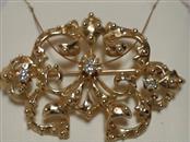Gold-Diamond Brooch 3 Diamonds .31 Carat T.W. 14K Yellow Gold 5.47dwt